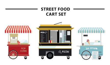 通りの食糧カート ベクトル イラスト セット