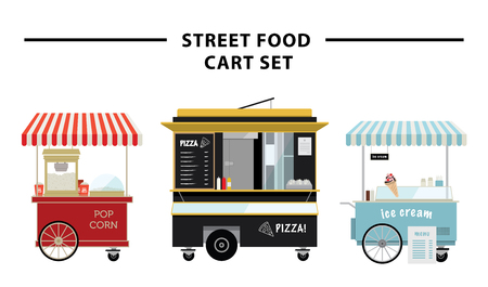 Street food cart vector illustration set Çizim