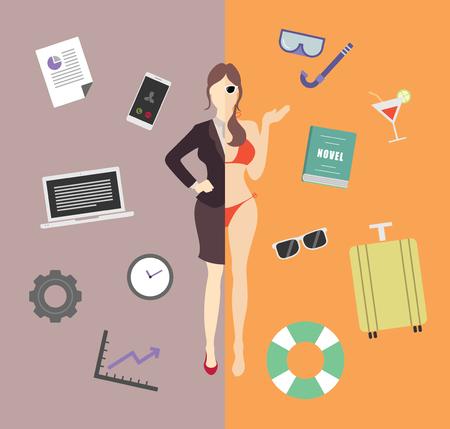 Work and life balance vector illustration Ilustrace