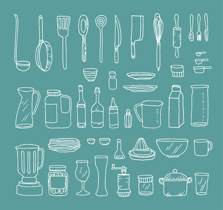 A set of kitchen objects vector illustration
