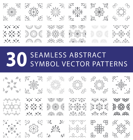 Seamless abstract symbol vector pattern swatches pack Illustration