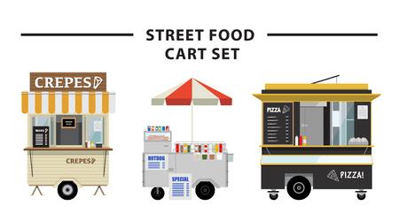 Street food cart vector illustration set Ilustrace