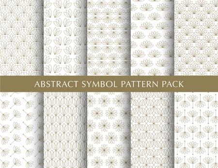 Set of abstract symbol vector patterns Illustration