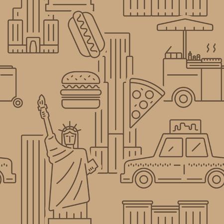 New York City brown paper pattern. Ilustrace
