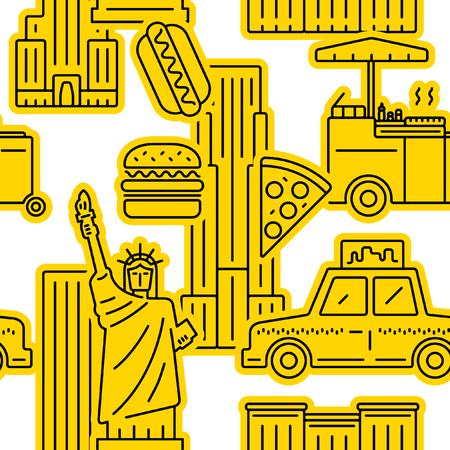 New York City yellow pattern. Ilustrace