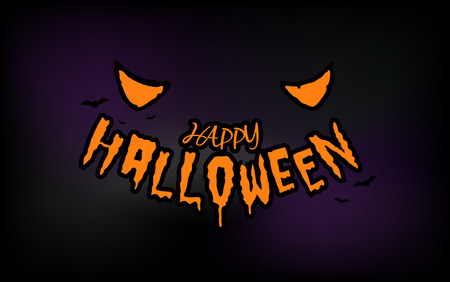 Halloween eyes with typography on dark background Illustration