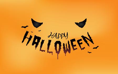 Halloween eyes with typography on orange background. Ilustrace