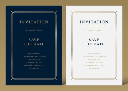 Luxury vintage golden vector invitation card template