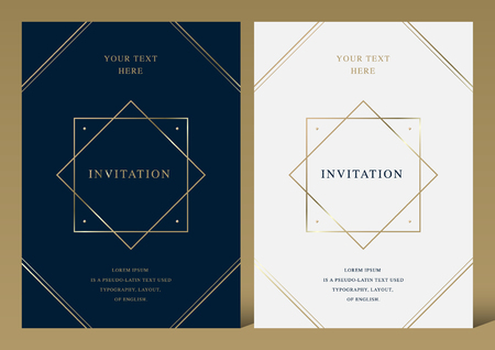 Luxury golden vector invitation card template Ilustrace