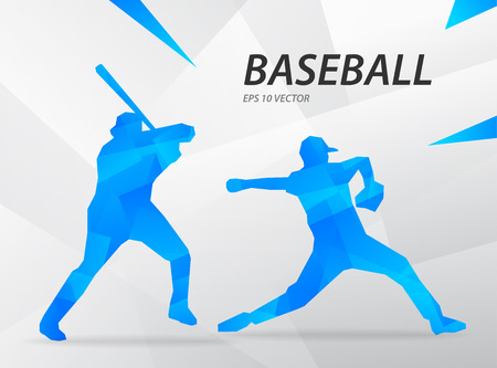 Blue modern vector graphic baseball player on abstract background