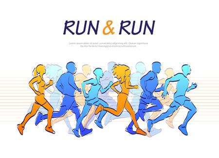 People running marathon, colorful vector illustration