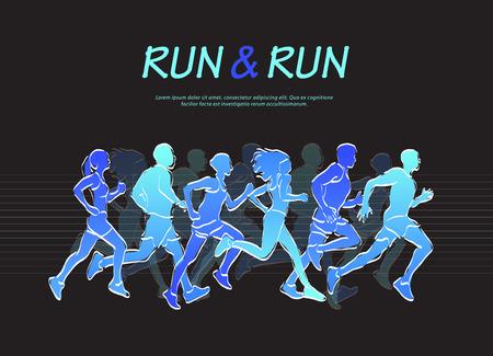 People running marathon, blue and black vector illustration