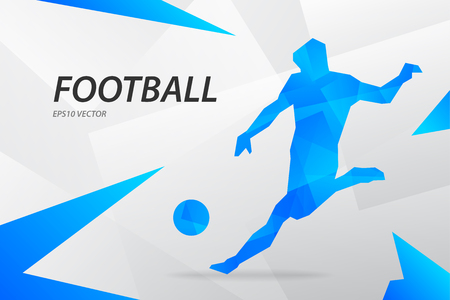 Blue modern vector graphic football player on abstract background