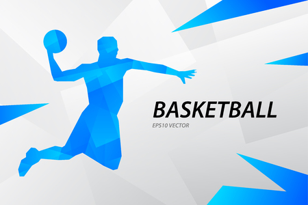 Blue modern vector graphic basketball player on abstract background