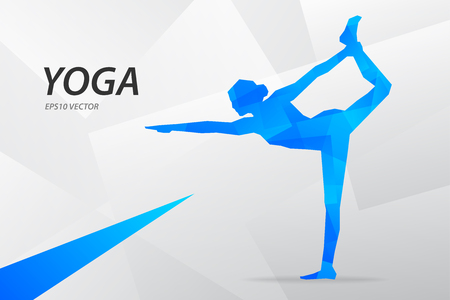 Blue modern vector graphic yoga on abstract background