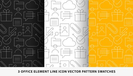 Office element line icon vector pattern swatches Ilustrace