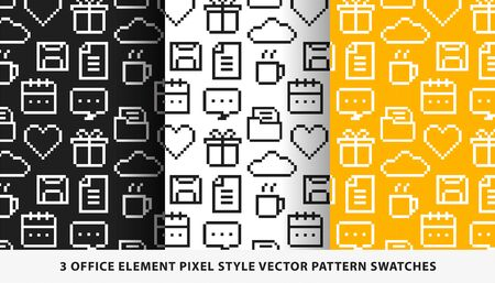 Office element pixel style vector pattern swatches Ilustrace