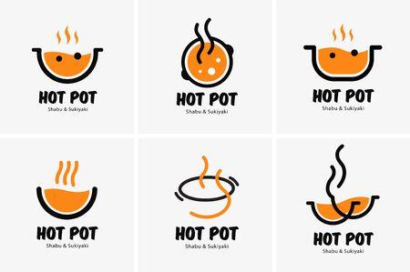 Hot pot shabu sukiyaki logo icon graphic japanese buffet restaurant Logos
