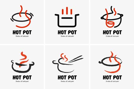 Hot pot shabu sukiyaki logo icon graphic japanese buffet restaurant