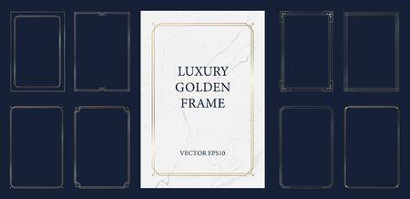Set of vintage golden frame with marble background