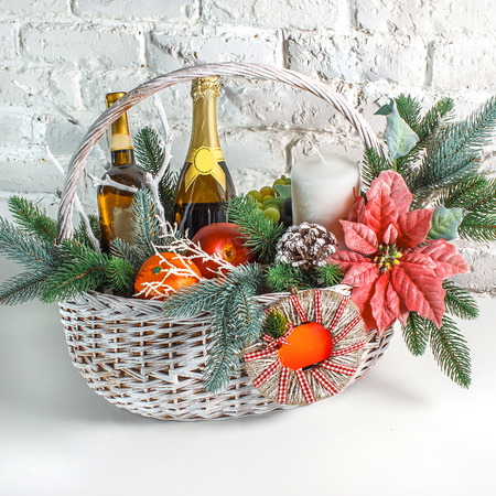 Christmas gift basket on the white background