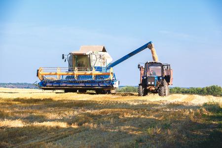 화창한 여름 날 작업 수확기를 결합하십시오. 스톡 콘텐츠