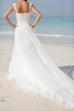 Bride At Beautiful Beach Wedding sunny day Banco de Imagens