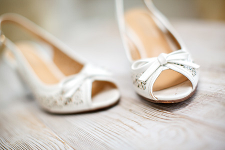 beautiful wedding shoes of the bride. photo