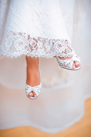 beautiful wedding shoes of the bride.