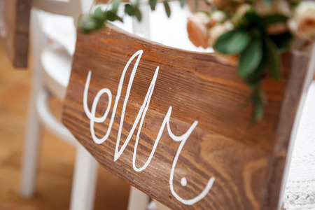 mr and mrs: Mr. & Mrs. Sign on the chair Stock Photo