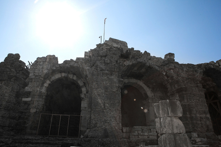 ruins is ancient: the antique theatre ruins, ancient monuments  of Roman Empire, Side, Turkey