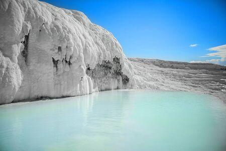 travertine: Natural travertine pools and terraces, Pamukkale, Turkey