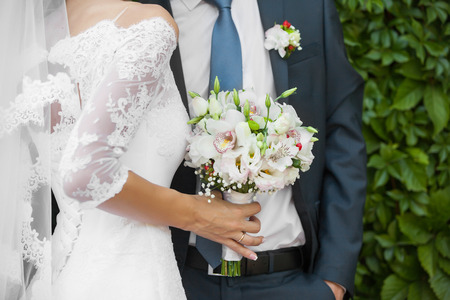 wedded: Wedding couple holding hands. bride and groom