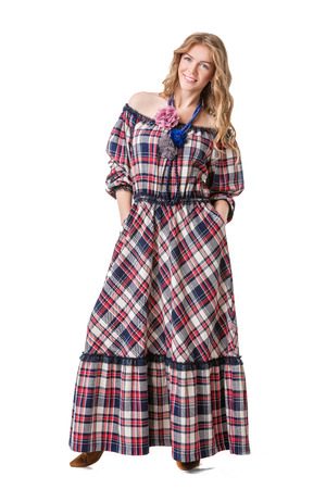 checked: attractive beautiful blonde girl in checked dress
