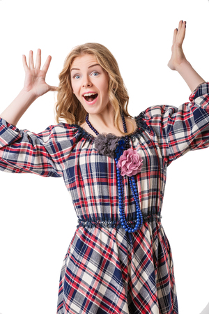 enthusiastically: attractive beautiful blonde girl in checked dress. girl enthusiastically exclaimed