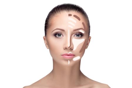 cheekbones: Contouring.Make up woman face. Contour and highlight makeup. Professional Contouring face make-up sample