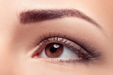 갈색 메이크업으로 아름 다운 여자 눈의 근접 촬영입니다. 갈색 눈을위한 자연 화장