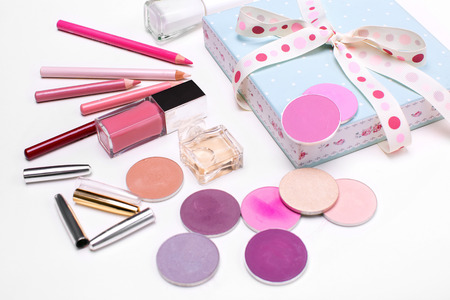 lip pencil: set of cosmetics: eye shadow, lipstick, lip pencil, lip pencil, perfum. top view Stock Photo