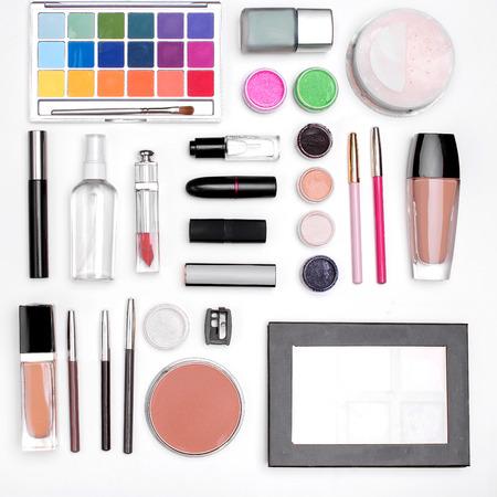 lip pencil: set of cosmetics: eye shadow, lipstick, mascara, powder, lip pencil, Foundation. top view