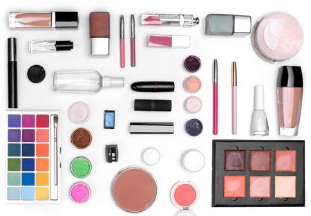 lip pencil: set of cosmetics: eye shadow, lipstick, mascara, powder, lip pencil, Foundation, lip gloss, pencil sharpener, pencil for eyes. top view