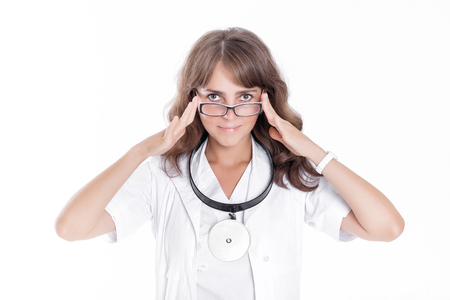 reflector: female ENT doctor in glasses with front reflector