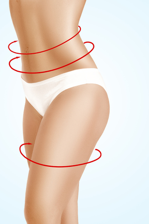 Weibliche Körper mit den Zeichen Pfeile auf sie auf blauem Hintergrund Standard-Bild - 66143393