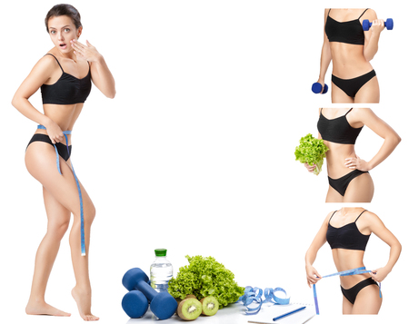collage of Sporty slim woman with dumbbells, measuring tape and Apple.  concept of healthy food and sport Stock Photo