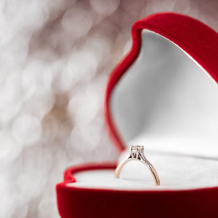 caras emociones: wedding diamond ring in  red heart shaped gift box