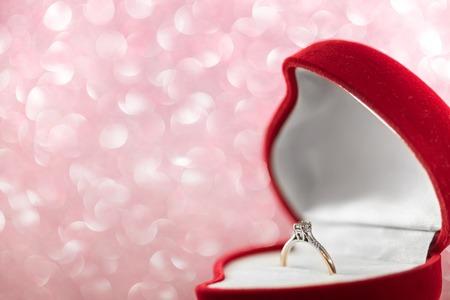 diamond shaped: wedding diamond ring in  red heart shaped gift box