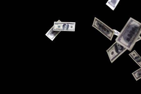 hundred: hundred dollars banknotes fly on black background. money rain concept