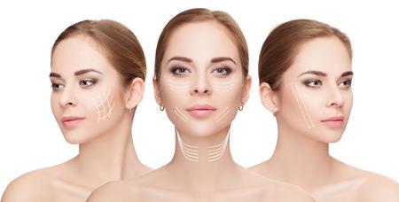 白い背景の上の矢印で直面している女性。顔リフティング コン 写真素材