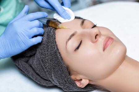 Verfahren Plasmolifting Injektion. Plasma-Injektion in die Haut o Lizenzfreie Bilder