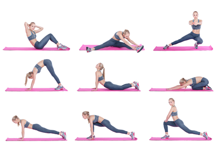 beautiful blonde girl in sportswear does exercises on  fitness Mat on white background. Set collection.