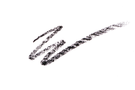 Black color cosmetic pencil strokes isolated on white background